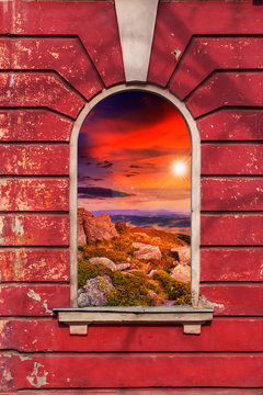 old window frame with picture