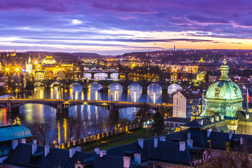 Wall Murals Prague Bridges in Prague over the river at sunset