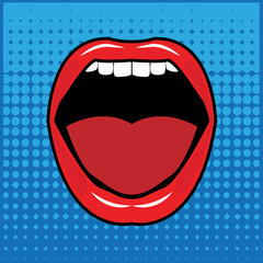 Open red lips with teeth abstract, vector illustration