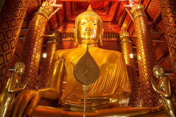 Buddha image in  Wat Phanan Choeng  temple in Ayutthaya