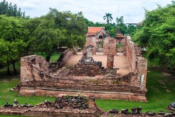 Part of Wat Mahathat temple in Ayutthaya, Thailand