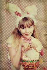 vintage easter bunny girl with basket