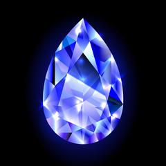 design element, blue diamond isolated on black