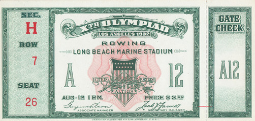 1932 Olympic Games Rowing Ticket
