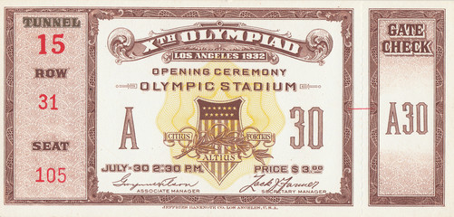 1932 Olympic Games Opening Ceremony Ticket