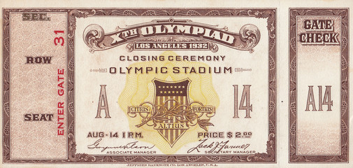 1932 Olympic Games Closing Ceremony Ticket