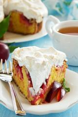 Plum cake with meringue.