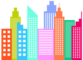 Modern City Skyline Skyscrapers
