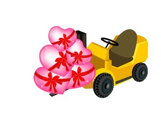 Forklift Truck Loading A Stack of Hearts