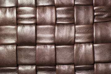 Macro of  braided brown leather