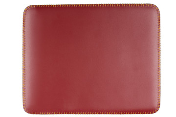 rectangular red leather