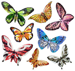 Butterfly - panels of mosaic. Isolated on a white background