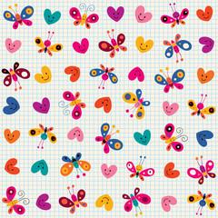 butterflies & hearts pattern