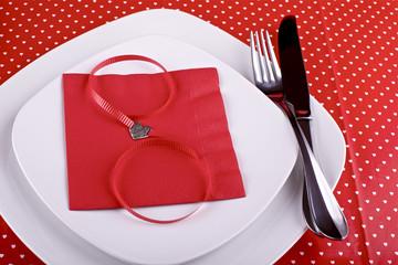 Table setting for romantic Valentine's dinner