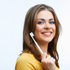 Woman with toothy brush. Isolated