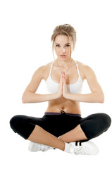 woman meditating in yoga pose, isolated on white