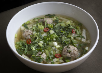 Thai noodle soup with meatballs