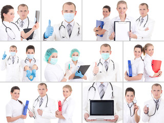 collage of young doctors at work