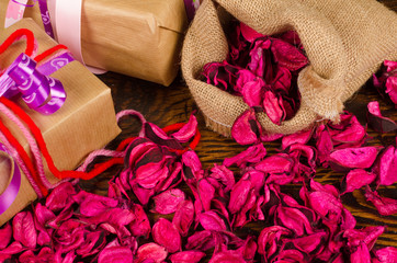 Gifts and  petals
