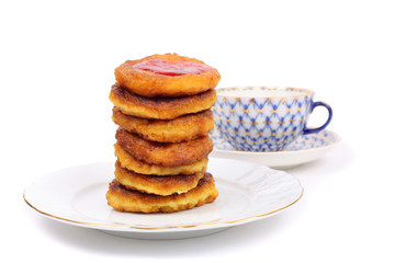 Thick pancakes and tea