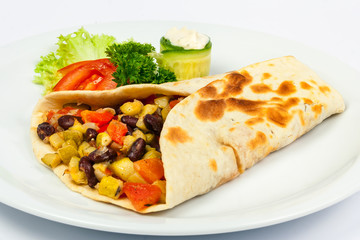 burrito with beans and squash