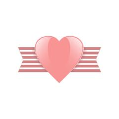 Pink heart. Valentine's Day element.