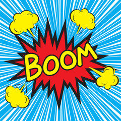 Boom comic speech bubble with radial speed, vector illustration