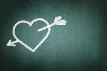 Love hearts drawing on a school chalkboard