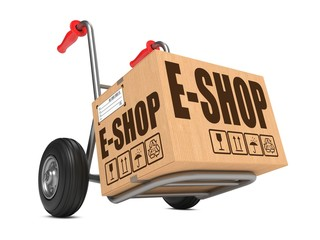 E-Shop - Cardboard Box on Hand Truck.