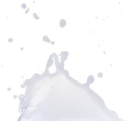 Pouring milk splash on white background