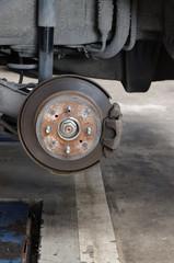 Rear Disk brake assembly on a modern car