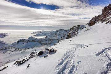 Colle della Malfatta with snow in winter, Alagna Valsesia, Italy