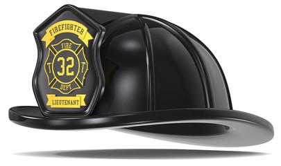 Retro Firefighter Helmet. Retro Black with badge. Isolated.