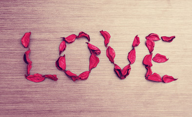 Background Valentine's Day. word love petals of red roses on a w