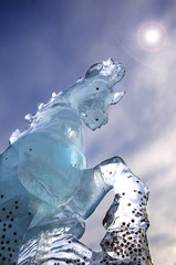 Horse ice statue with dramatic sky