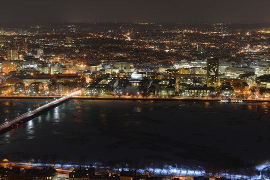 MIT campus on Charles River bank at night, Boston