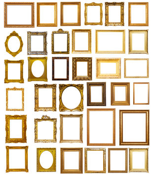 Set of many gilded frames. Isolated over white background