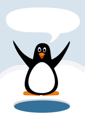 Cute penguin with speech bubble