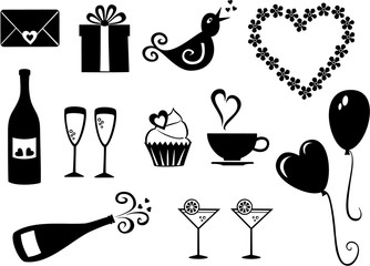 Vector set of simple, Valentine´s day icons.