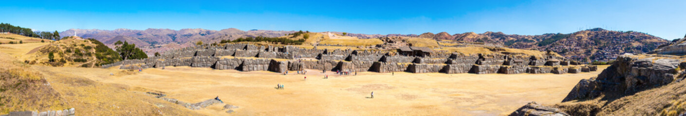 Panorama of Inca Wall in SAQSAYWAMAN, Peru, South America