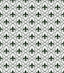 White and Dark Green Fleur-De-Lis Pattern Textured Fabric Backgr