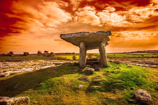 Ancient Poulnabrone Dolmen, The Burren, County Clare, Ireland