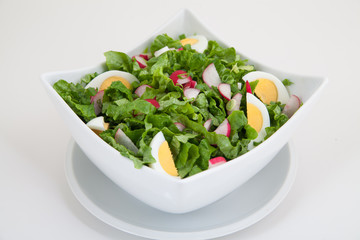 green salad in white plate