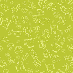Seamless pattern with cartoon baby transport