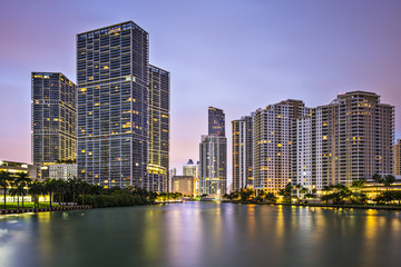Miami, Florida, USA Skyline at Miami River and Brickell Key
