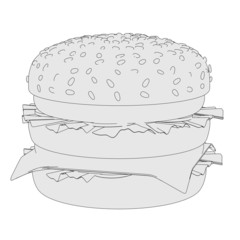 cartoon image of hamburger food