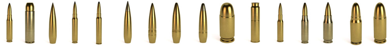 realistic 3d render of bullets