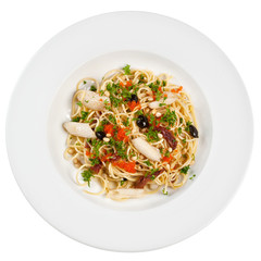 Italian pasta on the plate