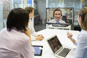 Group Of Business people In video conference during a meeting