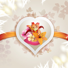 Valentine's day card with hearts and lilies